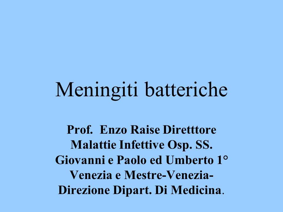 Meningiti batteriche Prof. Enzo Raise Diretttore Malattie Infettive Osp. SS. Giovanni e Paolo ed Umberto 1° Venezia e Mestre-Venezia- Direzione Dipart