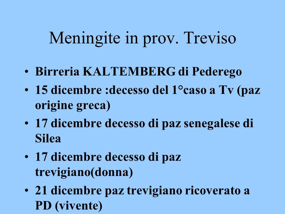 Meningite in prov. Treviso Birreria KALTEMBERG di Pederego 15 dicembre :decesso del 1°caso a Tv (paz origine greca) 17 dicembre decesso di paz senegal