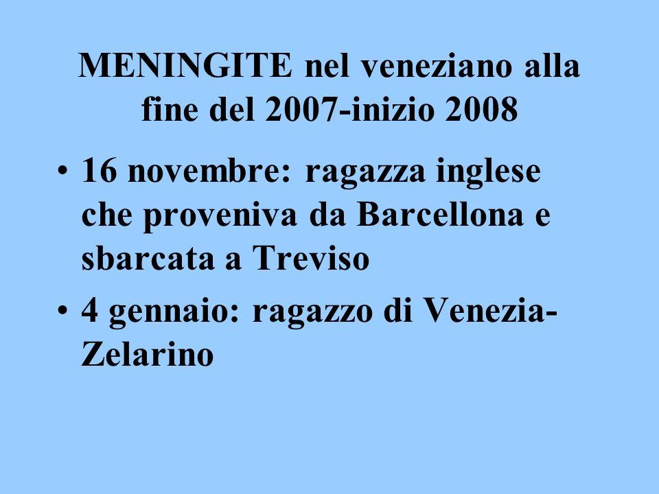 MENINGITE nel veneziano alla fine del 2007-inizio 2008 16 novembre: ragazza inglese che proveniva da Barcellona e sbarcata a Treviso 4 gennaio: ragazz