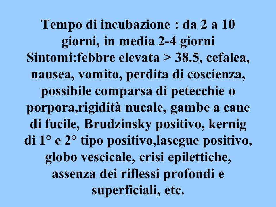 Tempo di incubazione : da 2 a 10 giorni, in media 2-4 giorni Sintomi:febbre elevata > 38.5, cefalea, nausea, vomito, perdita di coscienza, possibile c