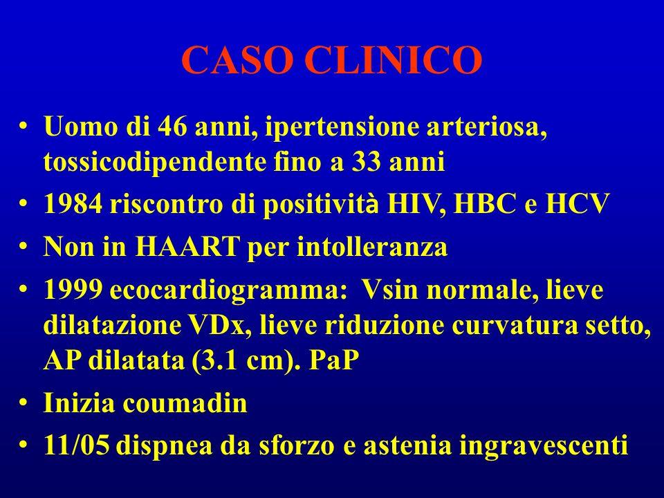 CASO CLINICO Uomo di 46 anni, ipertensione arteriosa, tossicodipendente fino a 33 anni 1984 riscontro di positivit à HIV, HBC e HCV Non in HAART per i