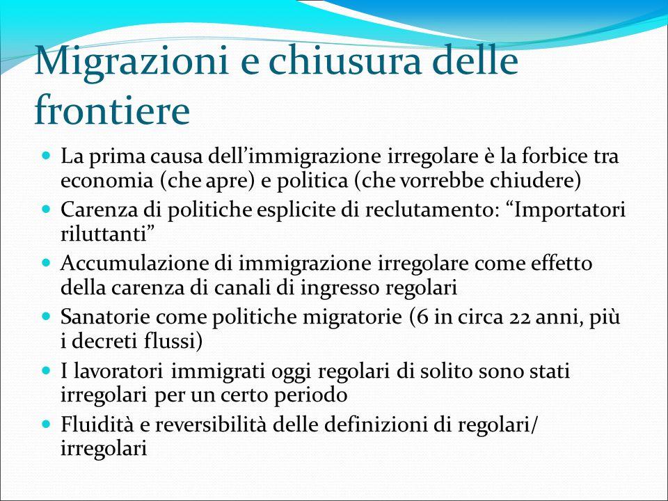 Migrazioni e chiusura delle frontiere La prima causa dellimmigrazione irregolare è la forbice tra economia (che apre) e politica (che vorrebbe chiuder