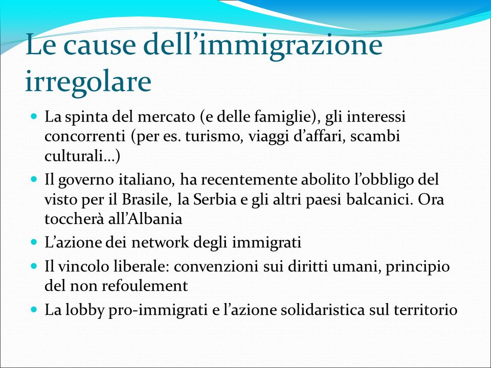 Le cause dellimmigrazione irregolare La spinta del mercato (e delle famiglie), gli interessi concorrenti (per es. turismo, viaggi daffari, scambi cult