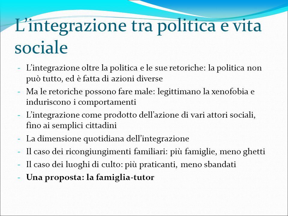 Lintegrazione tra politica e vita sociale - Lintegrazione oltre la politica e le sue retoriche: la politica non può tutto, ed è fatta di azioni divers