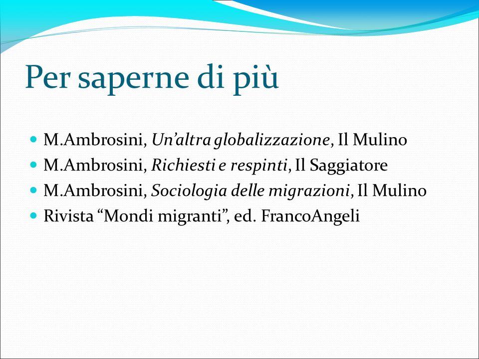 Per saperne di più M.Ambrosini, Unaltra globalizzazione, Il Mulino M.Ambrosini, Richiesti e respinti, Il Saggiatore M.Ambrosini, Sociologia delle migr