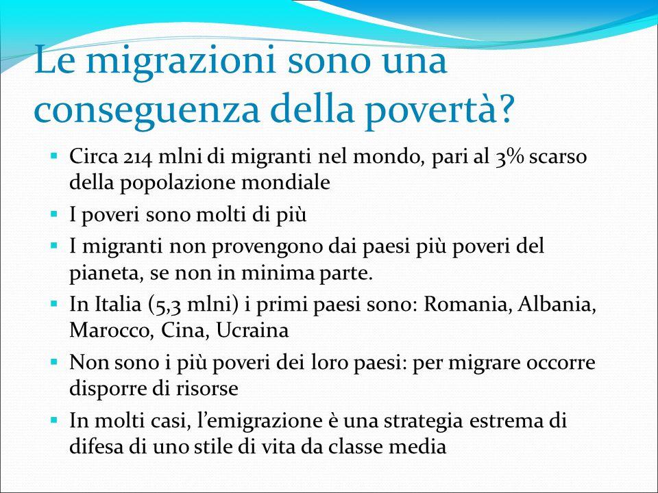 Le migrazioni sono una conseguenza della povertà? Circa 214 mlni di migranti nel mondo, pari al 3% scarso della popolazione mondiale I poveri sono mol