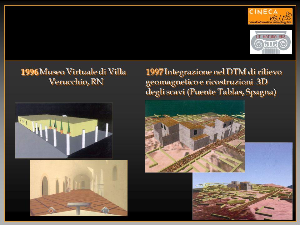 1997 1997 Integrazione nel DTM di rilievo geomagnetico e ricostruzioni 3D degli scavi (Puente Tablas, Spagna) 1996 1996 Museo Virtuale di Villa Verucc