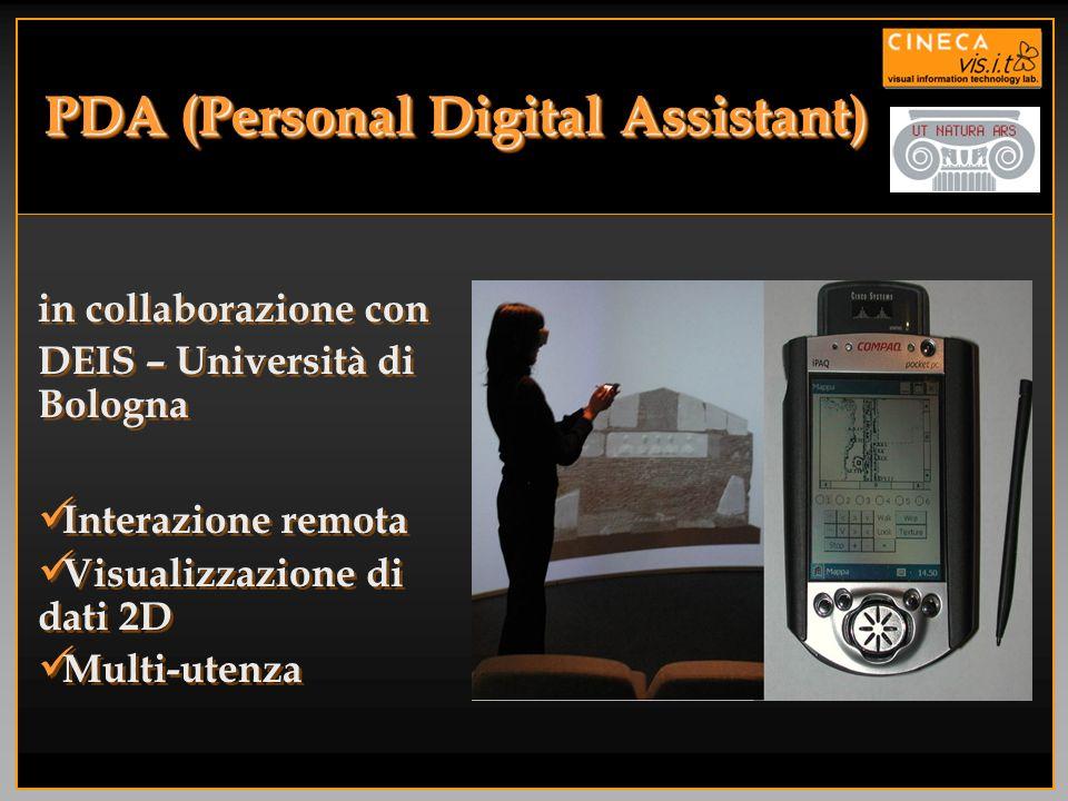PDA (Personal Digital Assistant) in collaborazione con DEIS – Università di Bologna Interazione remota Visualizzazione di dati 2D Multi-utenza in coll