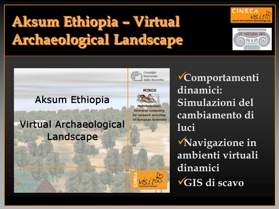Aksum Ethiopia – Virtual Archaeological Landscape Comportamenti dinamici: Simulazioni del cambiamento di luci Navigazione in ambienti virtuali dinamic