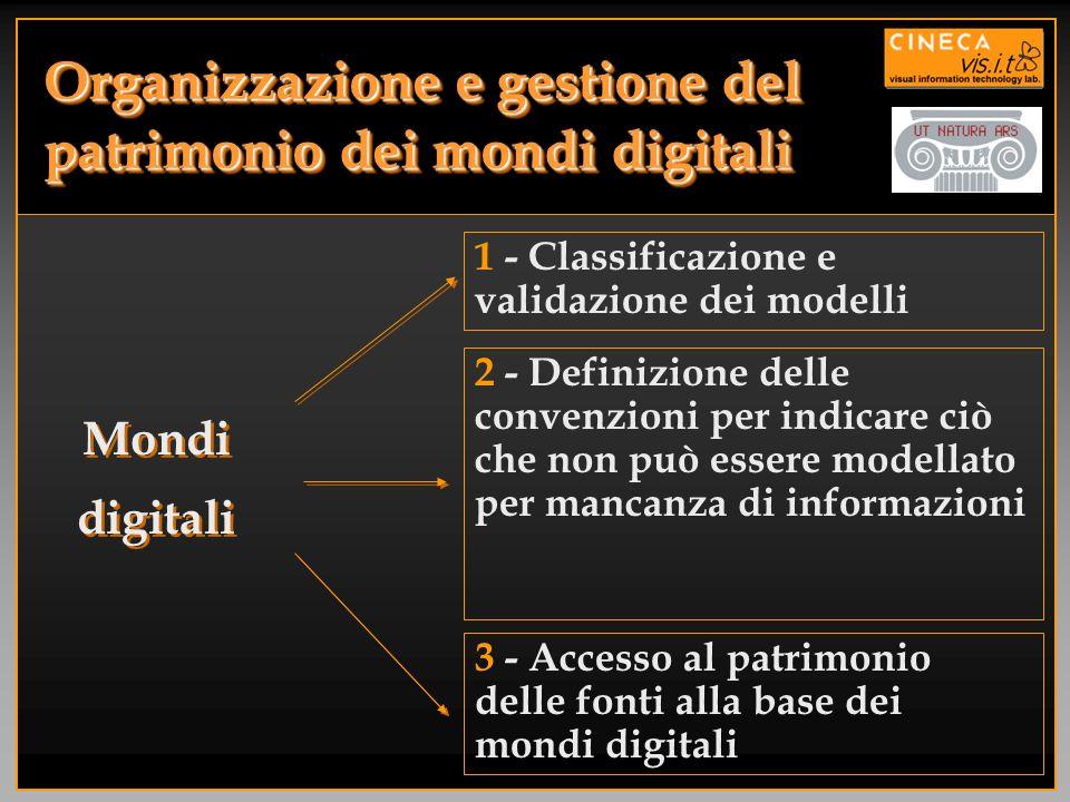Organizzazione e gestione del patrimonio dei mondi digitali 1 - Classificazione e validazione dei modelli 2 - Definizione delle convenzioni per indica