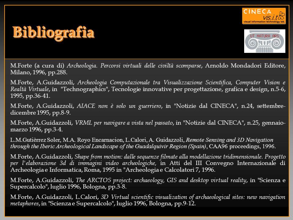 BibliografiaBibliografia M.Forte (a cura di) Archeologia. Percorsi virtuali delle civiltà scomparse, Arnoldo Mondadori Editore, Milano, 1996, pp.288.