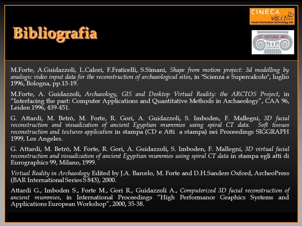 BibliografiaBibliografia M.Forte, A.Guidazzoli, L.Calori, F.Fraticelli, S.Simani, Shape from motion project: 3d modelling by analogic video input data