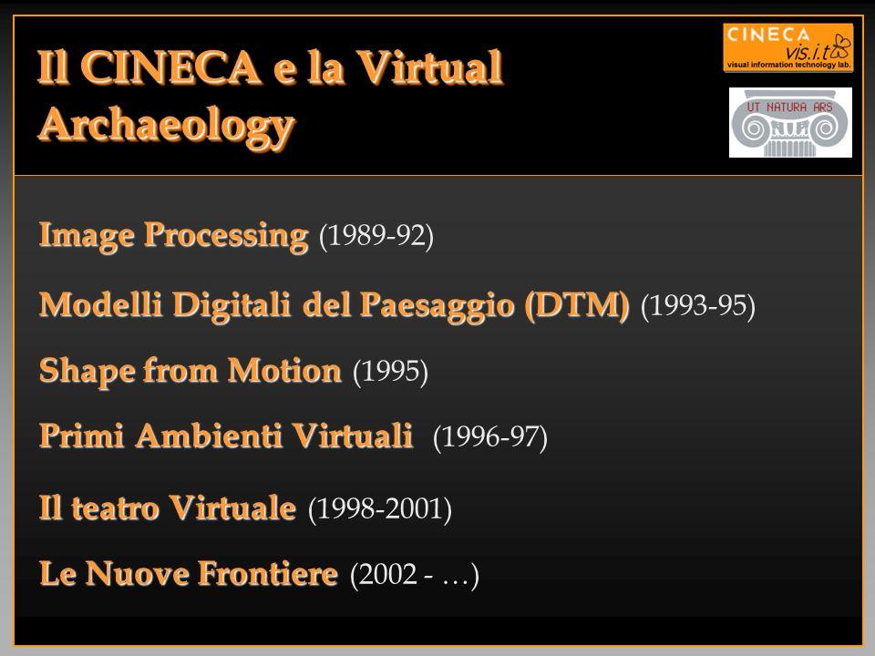 Image Processing Image Processing (1989-92) Il CINECA e la Virtual Archaeology Modelli Digitali del Paesaggio (DTM) Modelli Digitali del Paesaggio (DT