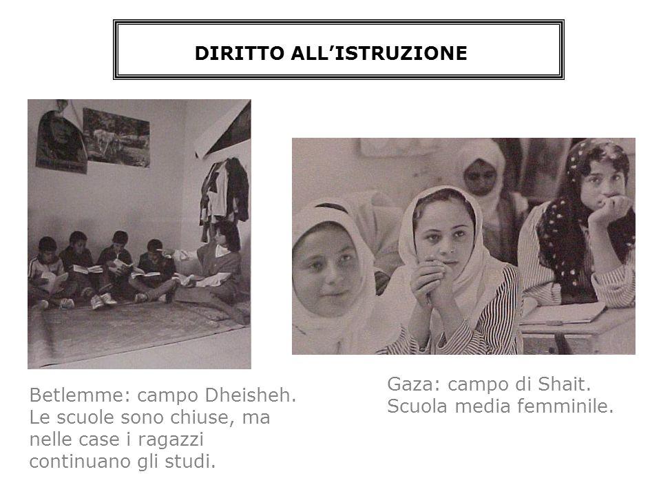 Gaza: campo di Shait. Scuola media femminile. DIRITTO ALLISTRUZIONE Betlemme: campo Dheisheh. Le scuole sono chiuse, ma nelle case i ragazzi continuan