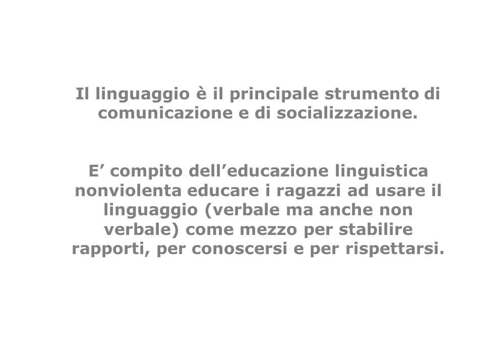 Il linguaggio è il principale strumento di comunicazione e di socializzazione. E compito delleducazione linguistica nonviolenta educare i ragazzi ad u