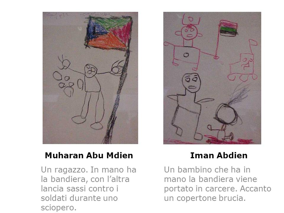Muharan Abu Mdien Un ragazzo. In mano ha la bandiera, con laltra lancia sassi contro i soldati durante uno sciopero. Iman Abdien Un bambino che ha in