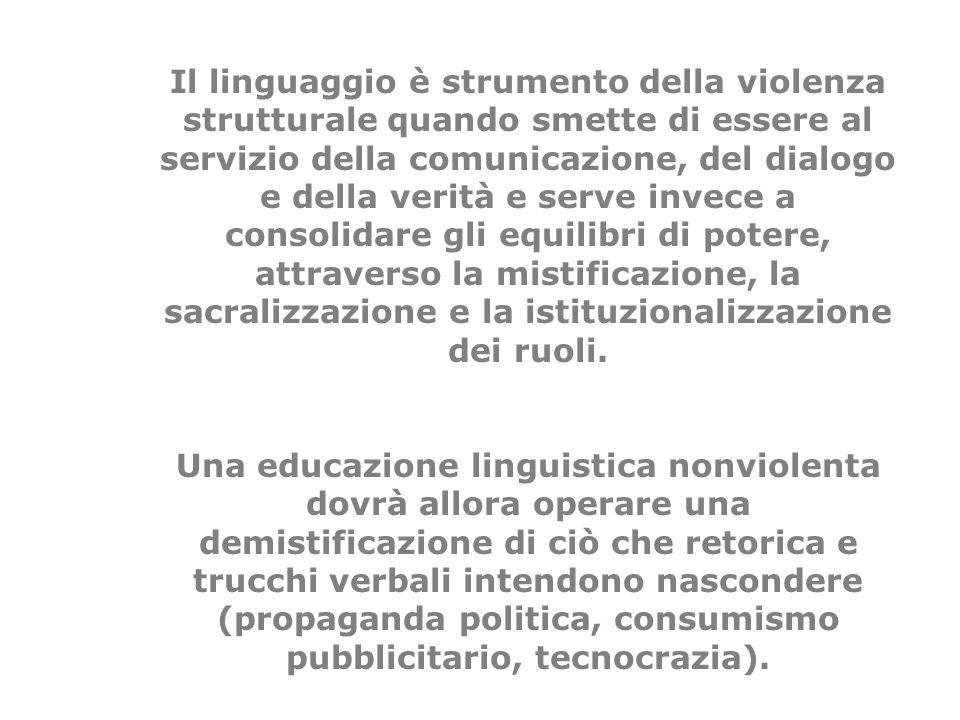 Il linguaggio è strumento della violenza strutturale quando smette di essere al servizio della comunicazione, del dialogo e della verità e serve invec