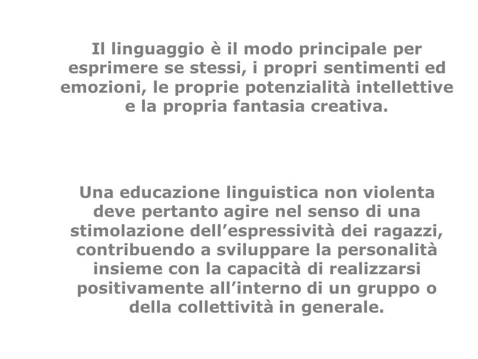 Il linguaggio è il modo principale per esprimere se stessi, i propri sentimenti ed emozioni, le proprie potenzialità intellettive e la propria fantasi