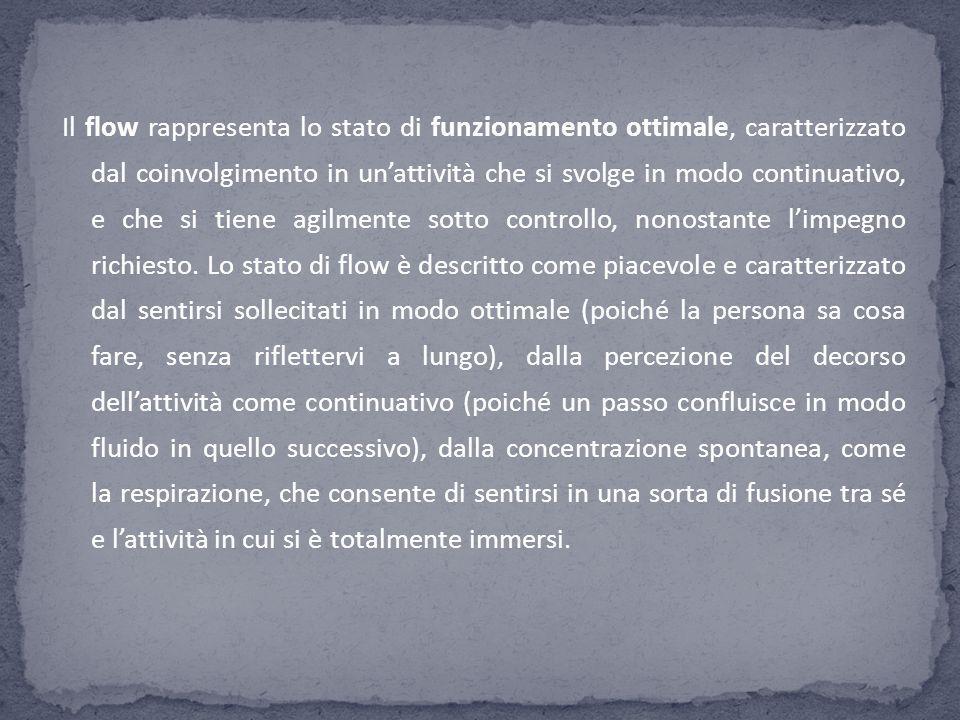 Il flow rappresenta lo stato di funzionamento ottimale, caratterizzato dal coinvolgimento in unattività che si svolge in modo continuativo, e che si t