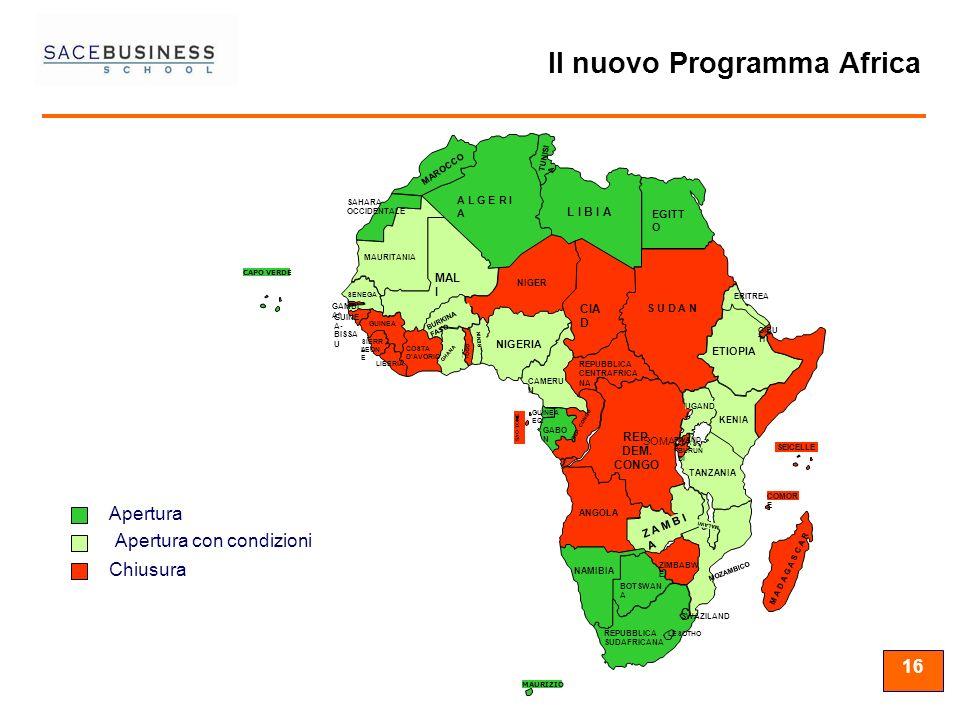 16 MAURIZIO CAPO VERDE Apertura con condizioni Apertura SOMALIA Chiusura Il nuovo Programma Africa