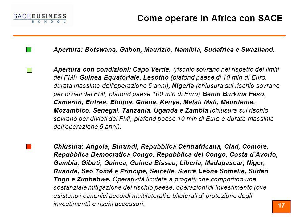 17 Come operare in Africa con SACE Apertura: Botswana, Gabon, Maurizio, Namibia, Sudafrica e Swaziland. Apertura con condizioni: Capo Verde, (rischio