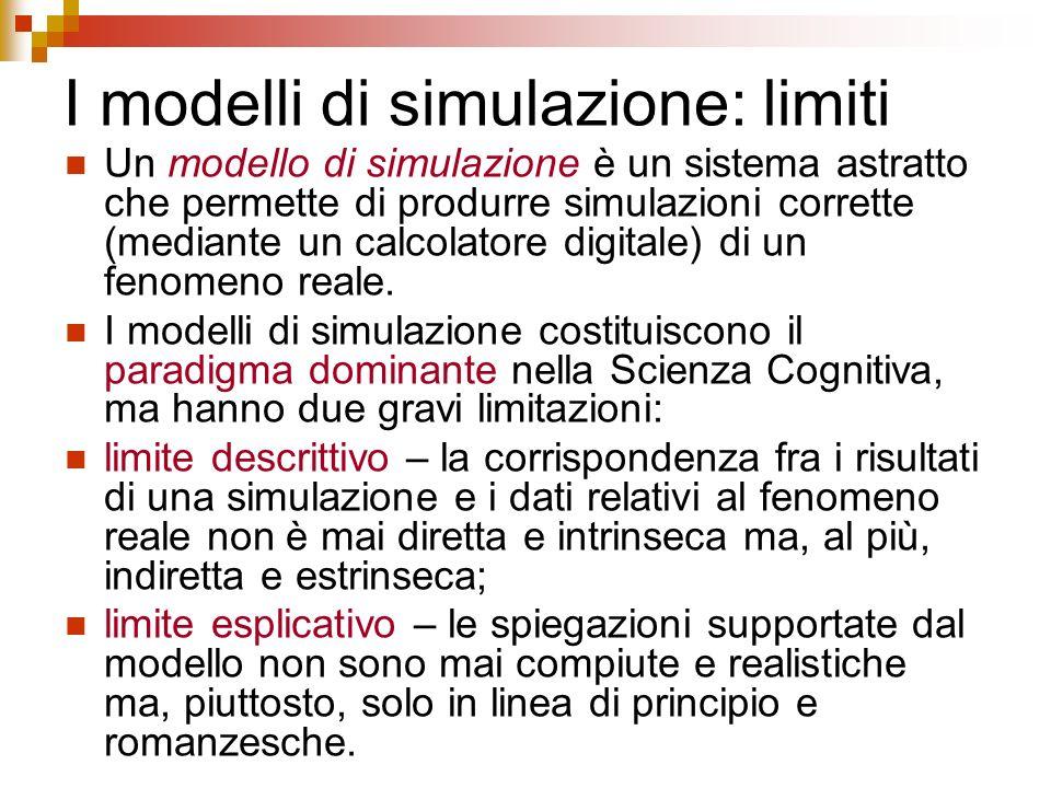 I modelli di simulazione: limiti Un modello di simulazione è un sistema astratto che permette di produrre simulazioni corrette (mediante un calcolator