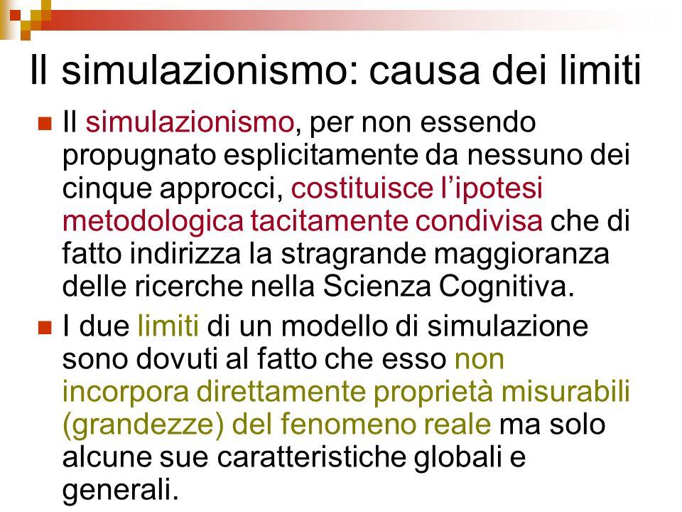 Il simulazionismo: causa dei limiti Il simulazionismo, per non essendo propugnato esplicitamente da nessuno dei cinque approcci, costituisce lipotesi