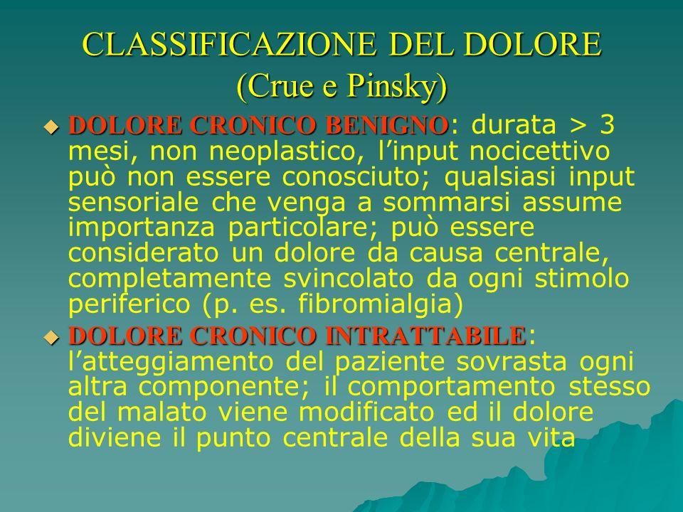 CLASSIFICAZIONE DEL DOLORE (Crue e Pinsky) DOLORE CRONICO BENIGNO DOLORE CRONICO BENIGNO : durata > 3 mesi, non neoplastico, linput nocicettivo può no