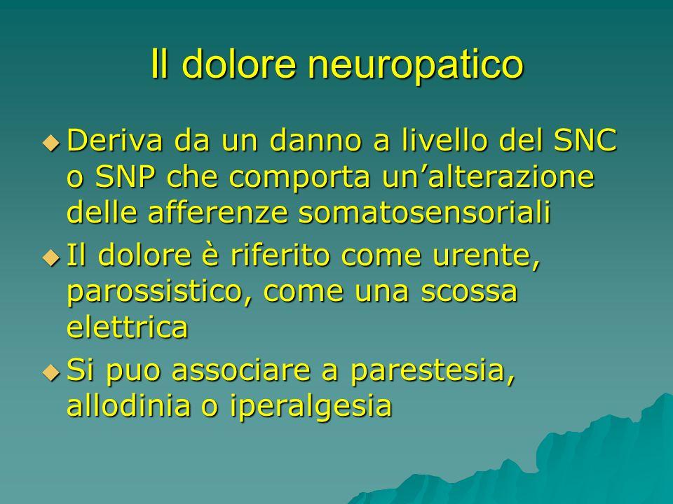 Il dolore neuropatico Deriva da un danno a livello del SNC o SNP che comporta unalterazione delle afferenze somatosensoriali Deriva da un danno a live