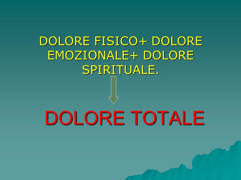 DOLORE TOTALE DOLORE FISICO+ DOLORE EMOZIONALE+ DOLORE SPIRITUALE.