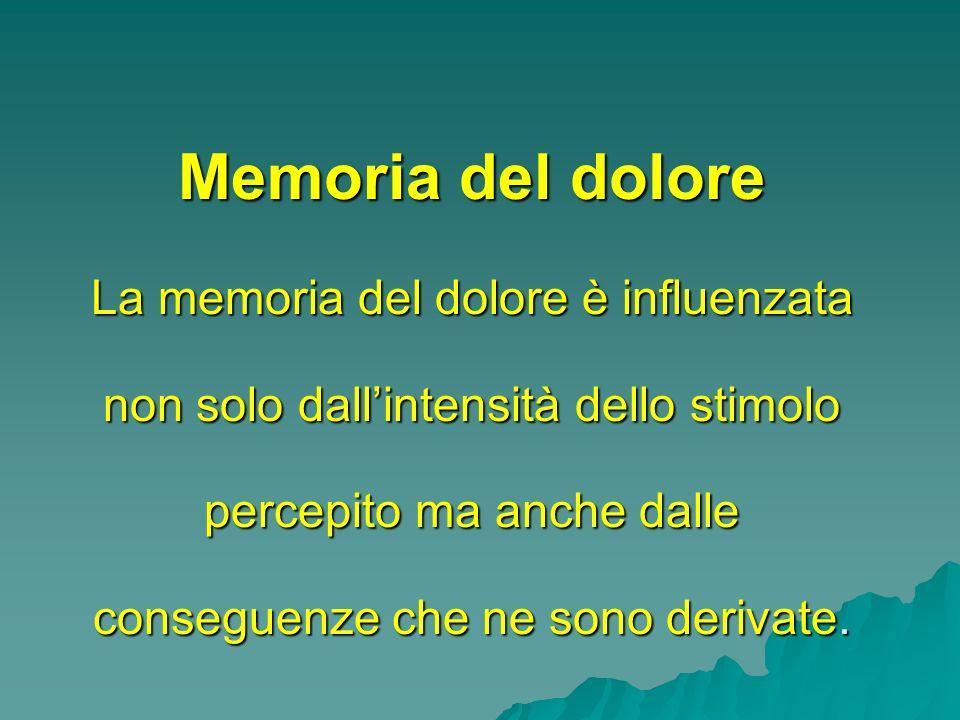 Memoria del dolore La memoria del dolore è influenzata non solo dallintensità dello stimolo percepito ma anche dalle conseguenze che ne sono derivate.