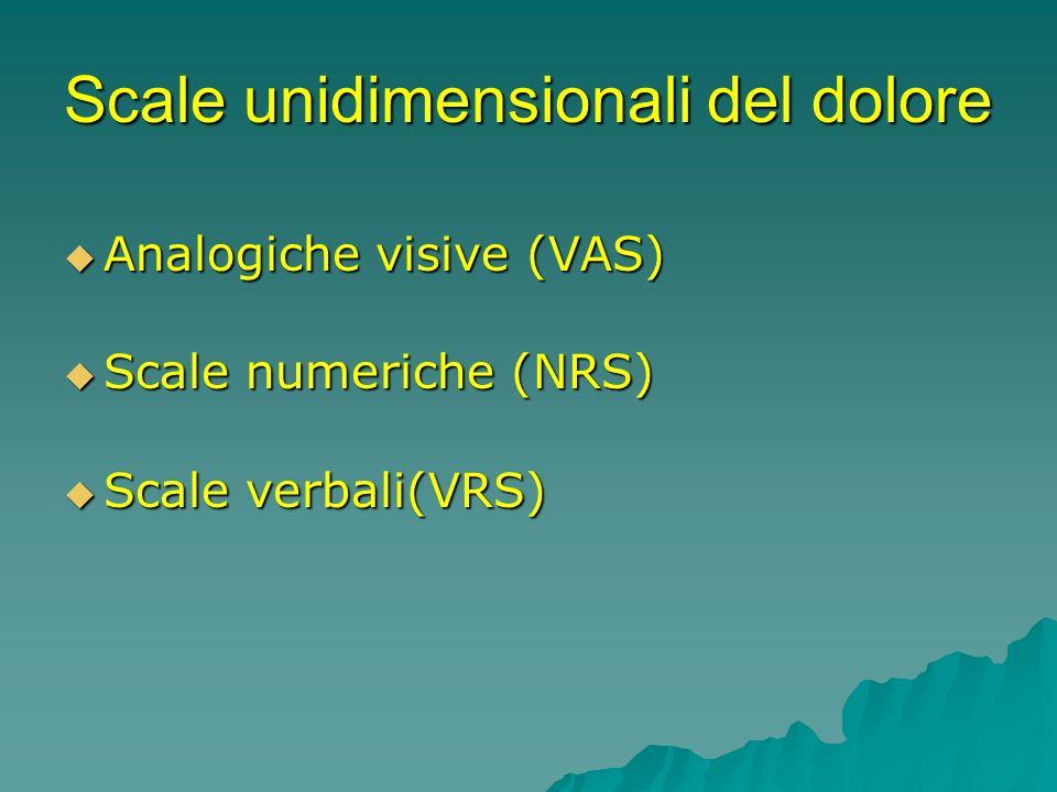 Scale unidimensionali del dolore Analogiche visive (VAS) Analogiche visive (VAS) Scale numeriche (NRS) Scale numeriche (NRS) Scale verbali(VRS) Scale