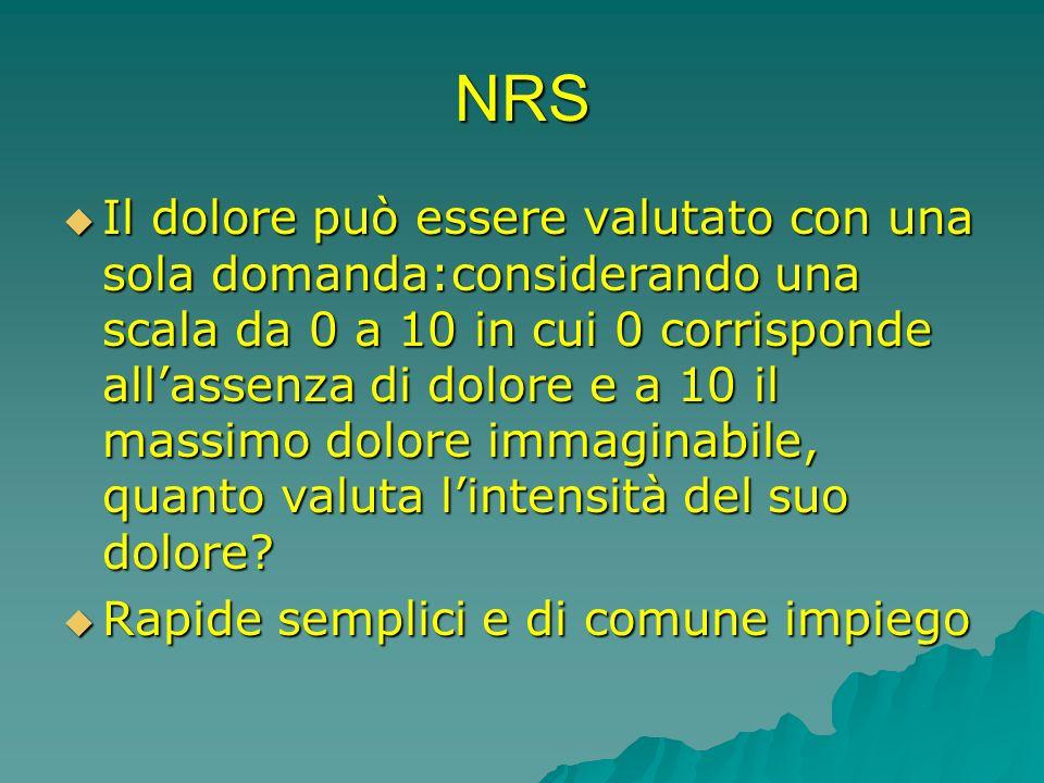 NRS Il dolore può essere valutato con una sola domanda:considerando una scala da 0 a 10 in cui 0 corrisponde allassenza di dolore e a 10 il massimo do