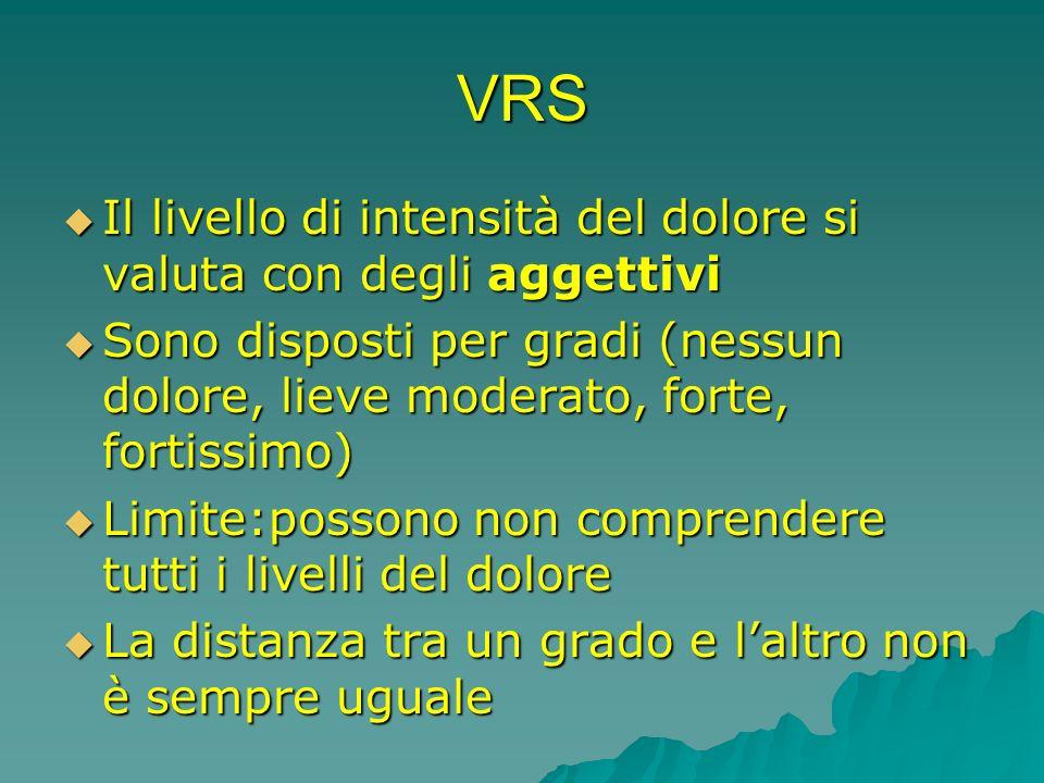 VRS Il livello di intensità del dolore si valuta con degli aggettivi Il livello di intensità del dolore si valuta con degli aggettivi Sono disposti pe
