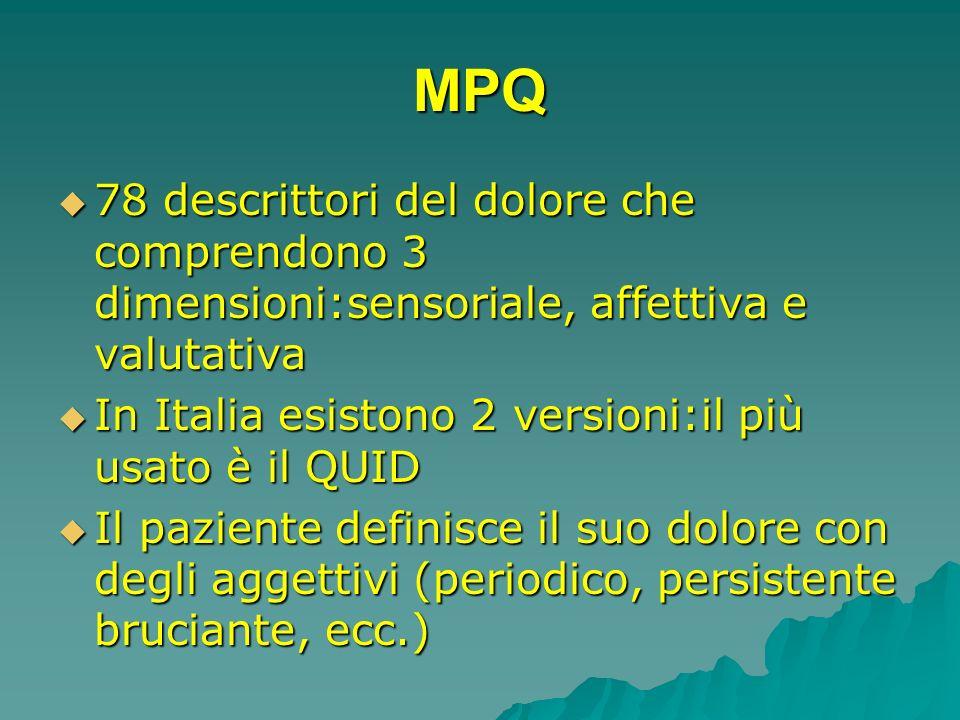 MPQ 78 descrittori del dolore che comprendono 3 dimensioni:sensoriale, affettiva e valutativa 78 descrittori del dolore che comprendono 3 dimensioni:s