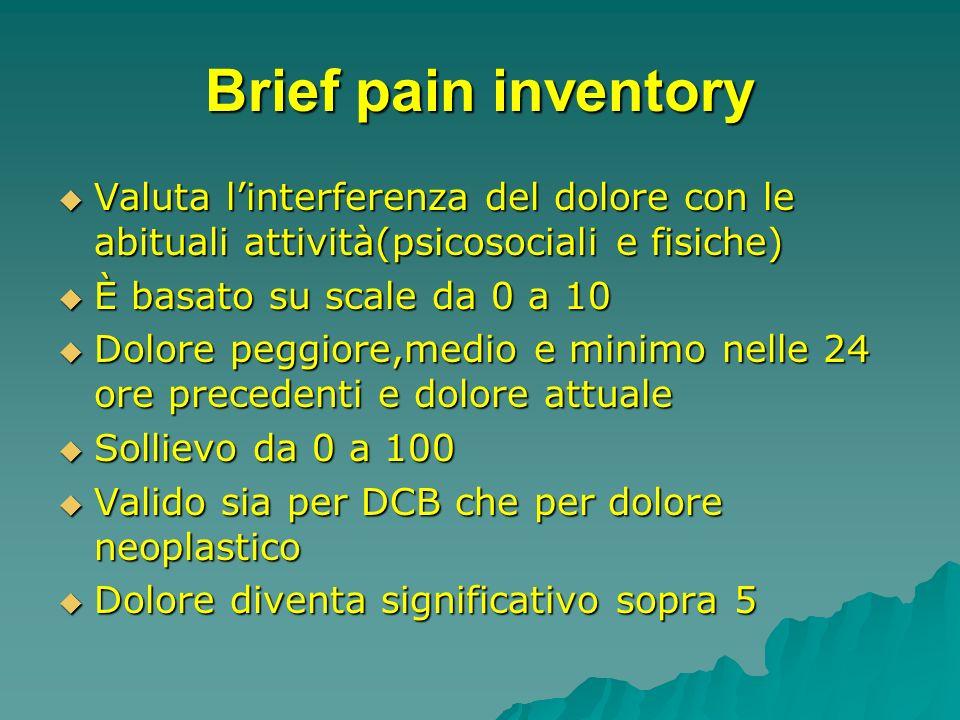 Brief pain inventory Valuta linterferenza del dolore con le abituali attività(psicosociali e fisiche) Valuta linterferenza del dolore con le abituali