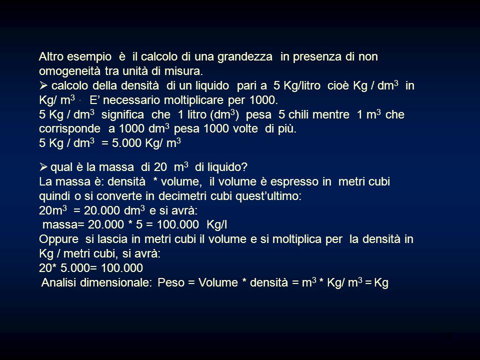 Altro esempio è il calcolo di una grandezza in presenza di non omogeneità tra unità di misura. calcolo della densità di un liquido pari a 5 Kg/litro c