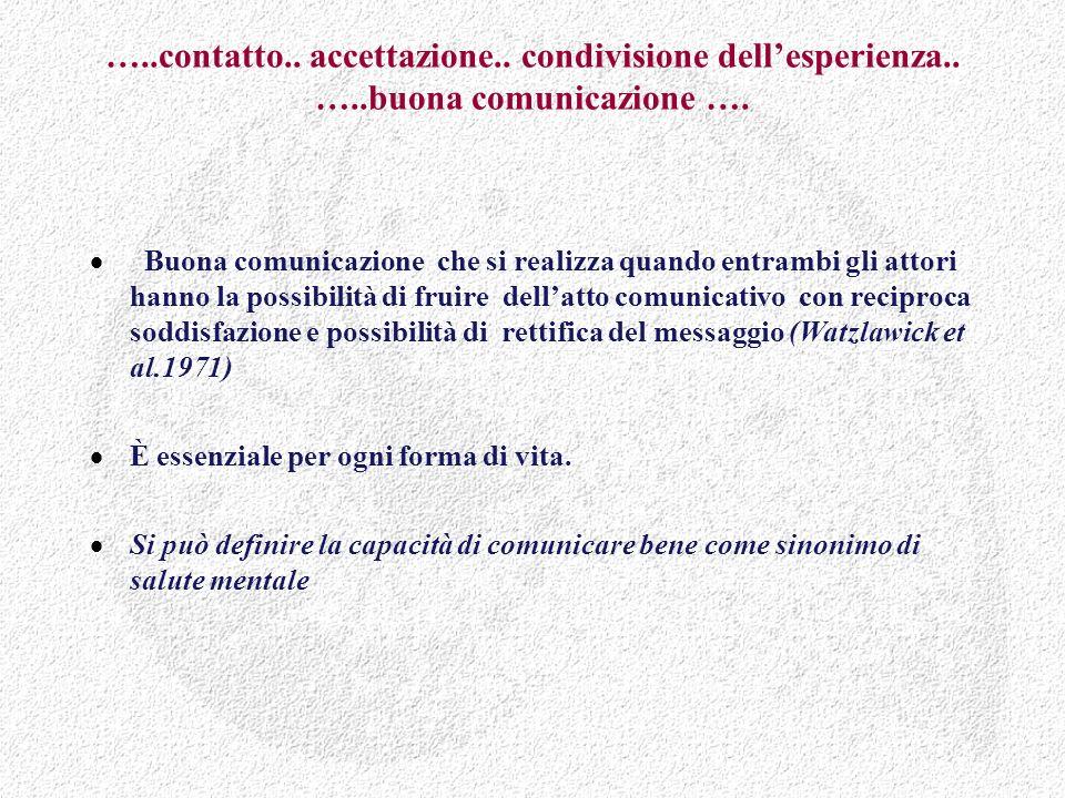 …..contatto.. accettazione.. condivisione dellesperienza..