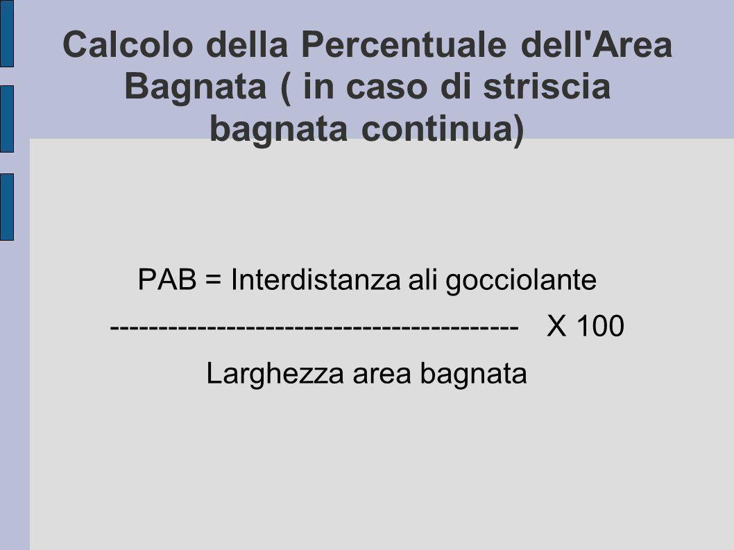 Calcolo della Percentuale dell Area Bagnata ( in caso di striscia bagnata continua) PAB = Interdistanza ali gocciolante ------------------------------------------ X 100 Larghezza area bagnata
