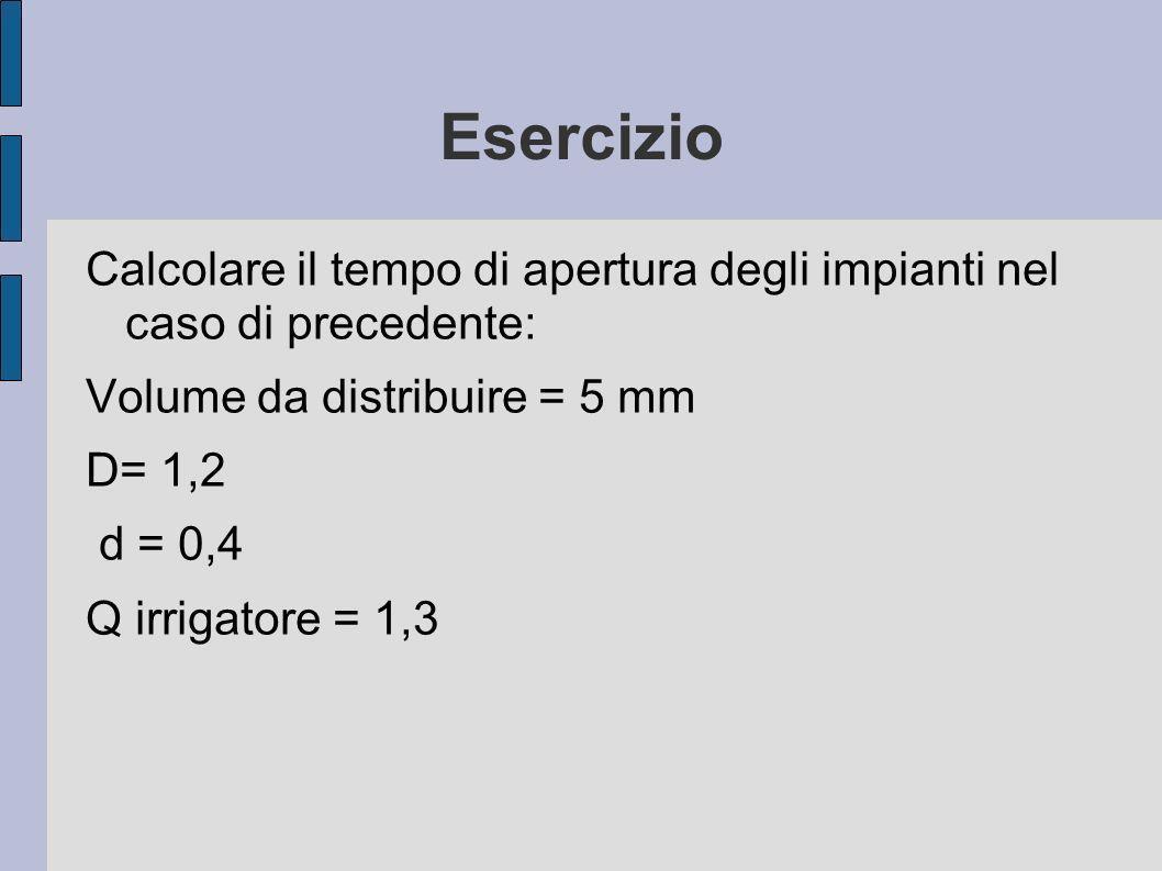 Esercizio Calcolare il tempo di apertura degli impianti nel caso di precedente: Volume da distribuire = 5 mm D= 1,2 d = 0,4 Q irrigatore = 1,3