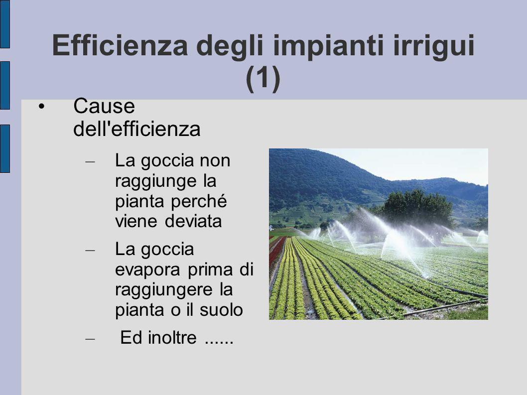 Efficienza degli impianti irrigui (1) Cause dell efficienza – La goccia non raggiunge la pianta perché viene deviata – La goccia evapora prima di raggiungere la pianta o il suolo – Ed inoltre......