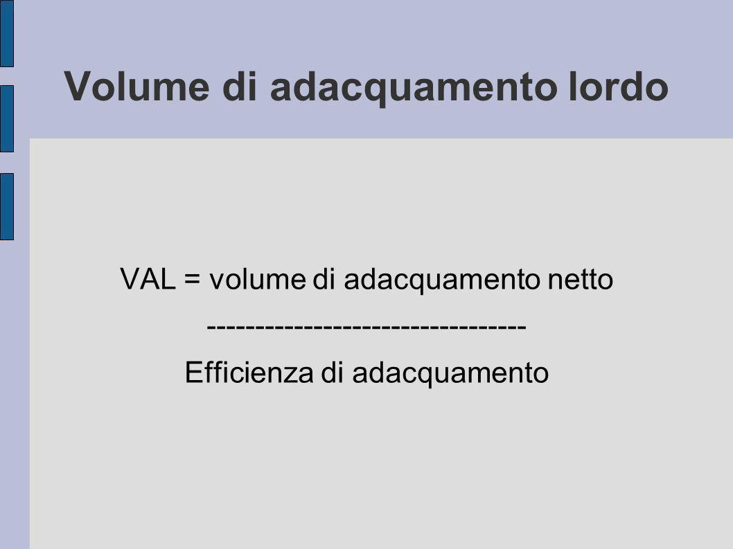Volume di adacquamento lordo VAL = volume di adacquamento netto --------------------------------- Efficienza di adacquamento