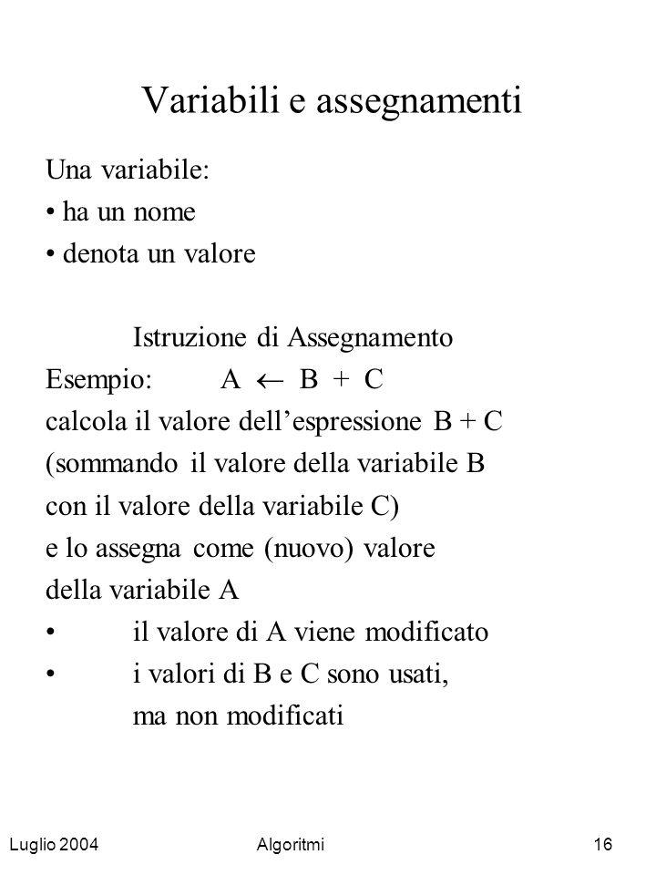 Luglio 2004Algoritmi16 Variabili e assegnamenti Una variabile: ha un nome denota un valore Istruzione di Assegnamento Esempio:A B + C calcola il valor