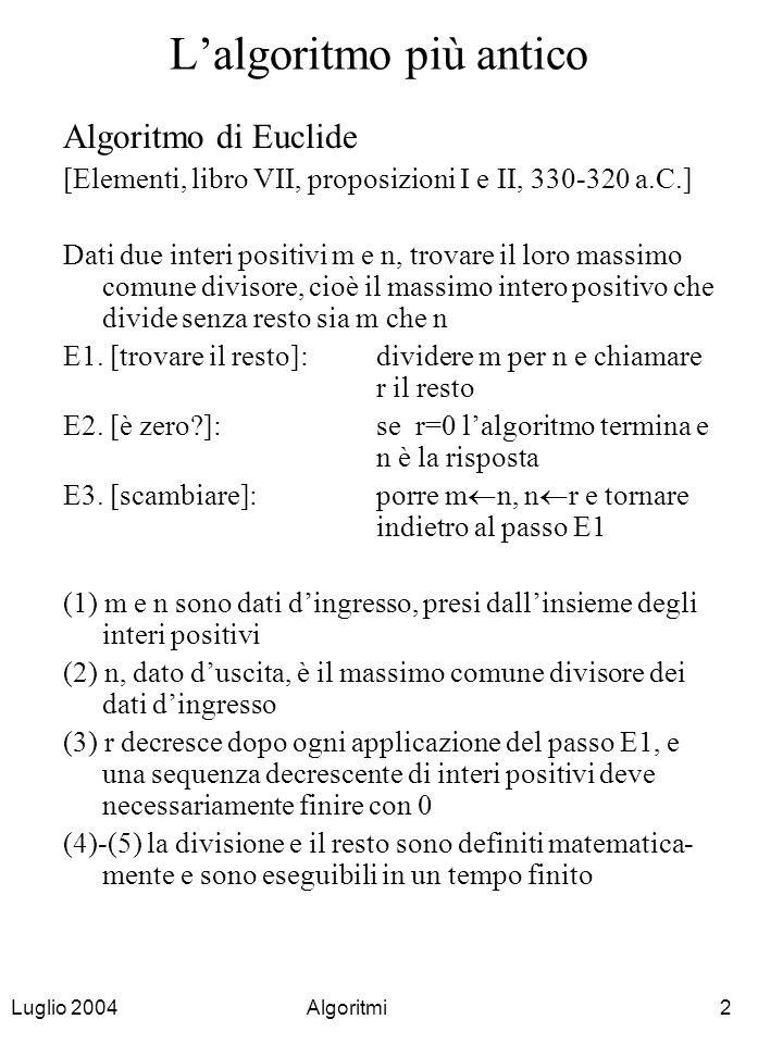 Luglio 2004Algoritmi3 Proprietà del MCD (1) MCD(m,n) = MCD(n,m) (2) se m = n allora MCD(m,n) = n = m (3) se m > n e n = 0 allora MCD(m,0) = m (4) se m > n e n > 0 allora MCD(m,n) = MCD(m-n,n) = MCD(m-2*n,n) = …..