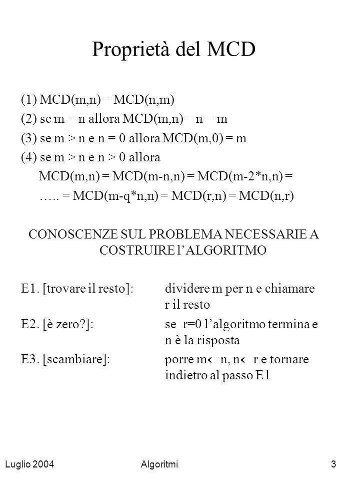Luglio 2004Algoritmi4 Il concetto di algoritmo [Da Al-Kowarizmi, matematico arabo del IX secolo] Algoritmo: metodo generale, astratto ed effettivo di risoluzione di problemi formulati esplicitamente Generale:sommare 3+4 (particolare) sommare x+y (generale, per ogni coppia x,y) Astratto:indipendente dal metodo di rappresentazione Effettivo:soddisfa condizioni di definitezza ed eseguibilità Formulazione esplicita/implicita di problemi