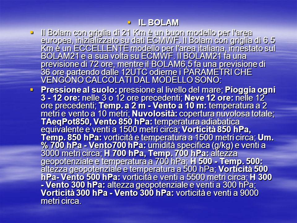 IL BOLAM IL BOLAM Il Bolam con griglia di 21 Km è un buon modello per l'area europea, inizializzato su dati ECMWF. Il Bolam con griglia di 6,5 Km è un