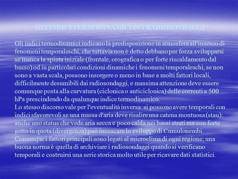 GLI INDICI TERMODINAMICI DEI RADIOSONDAGGI Gli indici termodinamici indicano la predisposizione in atmosfera all'innesco di fenomeni temporaleschi, ch
