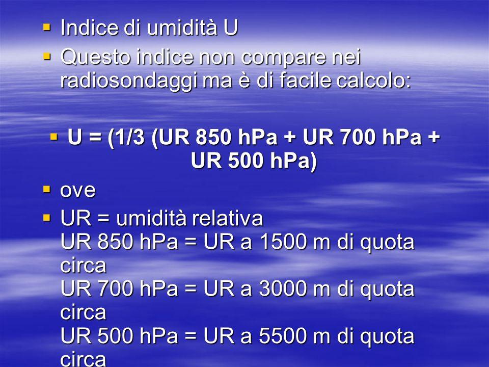 Indice di umidità U Indice di umidità U Questo indice non compare nei radiosondaggi ma è di facile calcolo: Questo indice non compare nei radiosondagg