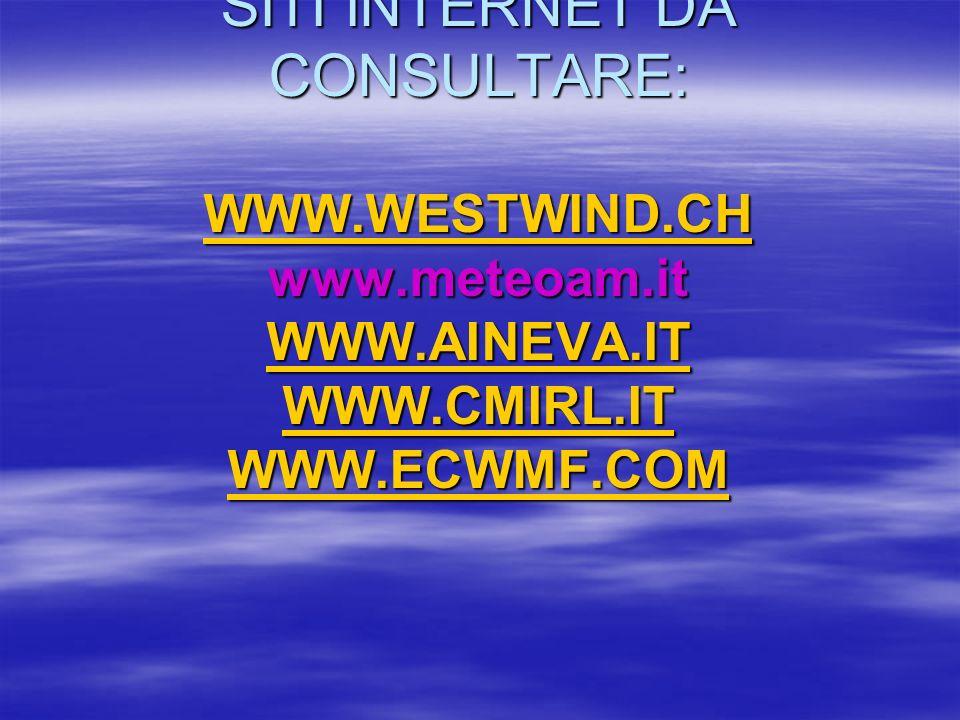 SITI INTERNET DA CONSULTARE: WWW.WESTWIND.CH www.meteoam.it WWW.AINEVA.IT WWW.CMIRL.IT WWW.ECWMF.COM WWW.WESTWIND.CH WWW.AINEVA.IT WWW.CMIRL.IT WWW.EC