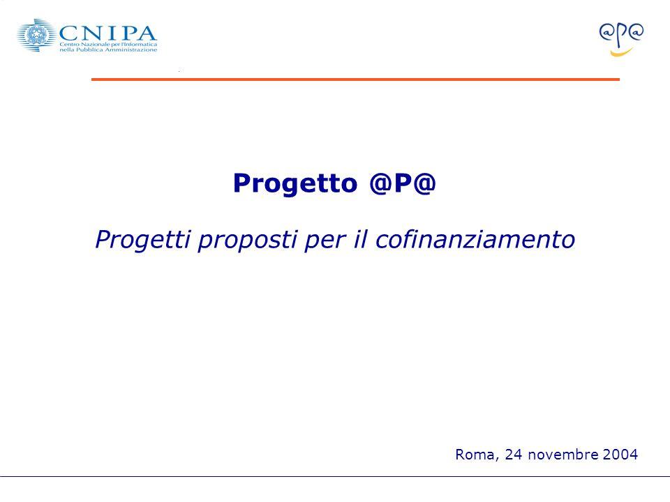 Progetto @P@ Progetti proposti per il cofinanziamento Roma, 24 novembre 2004